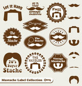Vector Collection: Mustache Labels and Design Elements — Stok Vektör