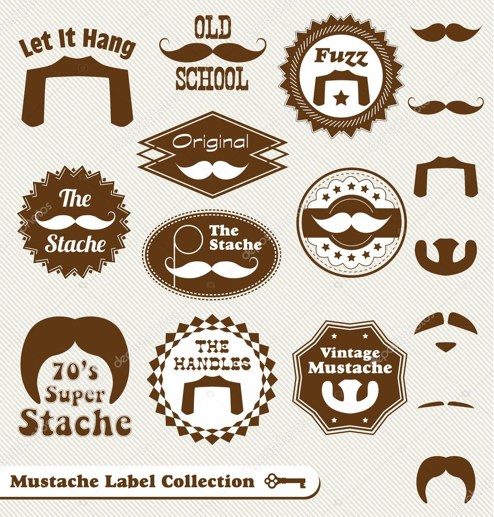 Collection of vintage style mustache and beard labels  Stock Vector #12176110