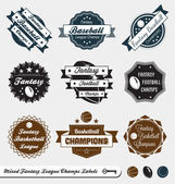 Vector Set: Mixed Fantasy Sports League Champs — Stock Vector