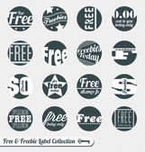 Vector Set: Sale Free and Freebie Labels — Stock Vector