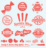 Vector Set: Candy Shop Labels and Badges — ストックベクタ