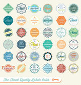 Vector Set: The Finest Quality Labels Colored — Stock Vector