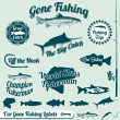 Vector Set: Gone Fishing Labels and Awards — Stock Vector