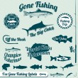 Vector Set: Gone Fishing Labels and Awards — ストックベクタ