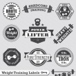 Stock Vector: Vector Set: Weight Training Labels and Icons