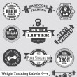Vector Set: Weight Training Labels and Icons — Stock Vector