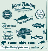 Vector Set: Gone Fishing Labels and Awards — Stok Vektör
