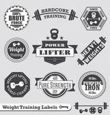 Conjunto de vectores: etiquetas de entrenamiento con pesas y los iconos — Vector de stock