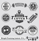 Vector Set: Weight Training Labels and Icons — Stok Vektör