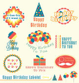 Vector Set: Happy Birthday Labels and Badges — Stok Vektör