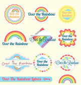 Vector Set: Over the Rainbow Labels and Badges — Stock Vector