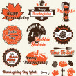 Vector Set: Retro Happy Thanksgiving Day Labels — Stock vektor #13409132