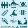 Постер, плакат: Vector Set: Retro Snowboarding Labels and Stickers
