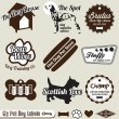Vector Set: Retro Dog and Pet Shop Labels and Stickers - Stock Vector