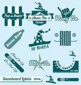 Vector Set: Retro Snowboarding Labels and Stickers — Stock Vector