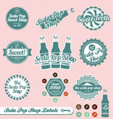 Vector Set: Retro Soda Pop Shop Labels and Stickers — Stock Vector