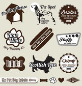 Vector Set: Retro Dog and Pet Shop Labels and Stickers — Vecteur
