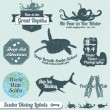 Vector Set: Retro Scuba Diving Labels and Stickers — Stock Vector