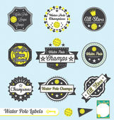 Vector Set: Retro Water Polo League Labels and Stickers — Vecteur