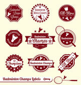 Vector Set: Retro Badminton League Labels and Stickers — Stock Vector