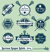 Vector Set: Retro Lacrosse League Labels and Stickers — Stok Vektör