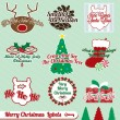 Vector Set: Retro Merry Christmas Labels and Stickers — Stock Vector