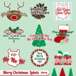 Stock Vector: Vector Set: Retro Merry Christmas Labels and Stickers