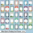 Vector Set: Retro Mixed Sports Trading Card Picture Frames - Stock Vector