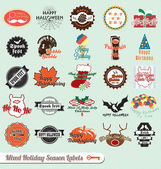 Vector Set: Retro Mixed Holiday Season Labels and Stickers — Stock Vector