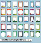 Conjunto de vectores: deportivos mixtos de cartas coleccionables marcos retro y fotos — Vector de stock