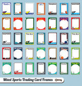 Vector Set: Retro Mixed Sports Trading Card Picture Frames — ストックベクタ