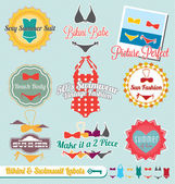 Vector Set: Retro Style Bikini and Swimsuit Labels — Stock Vector