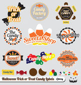 Vector Set: Retro Style Halloween Candy Labels — Stock Vector
