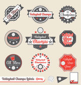 Vector Set: Retro Style Volleyball League Labels — Stock Vector
