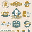Vector Set: Retro Style Tea Time Labels — Stock Vector