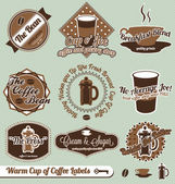 Vector Set: Retro Style Warm Coffee Labels — Stockvector