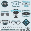 Stock Vector: Vector Set: Retro Style Glasses Labels and Icons