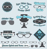 Vector Set: Retro Style Glasses Labels and Icons — Stok Vektör