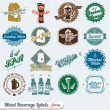 Vector Set: Retro Style Beverages Labels and Icons — Stock Vector