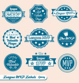 Vector Set: Retro Style League MVP Labels and Icons — Stock Vector