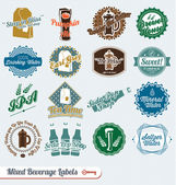 Vector Set: Retro Style Beverages Labels and Icons — Stok Vektör