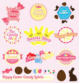 Vector Set: Retro Style Easter Candy Labels — Stock Vector