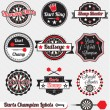 Vector Set: Vintage Dart Champion Labels and Stickers — Stock Vector #13872929