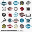 Vector Set: Vintage Mixed Sports Labels and Stickers — Stock Vector