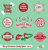 Vector Set: Vintage Christmas Candy Labels and Stickers — Stock Vector