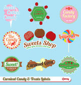 Vector Set: Vintage Carnival Candy Labels and Stickers — Stock Vector