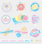 Vector Set: Vintage Cotton Candy Labels and Stickers — Stock Vector