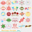 Vector instellen: Vintage gemengde Candy Labels en Stickers — Stockvector  #13987861