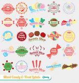 Conjunto de vetores: rótulos de doces misturados vintage e adesivos — Vetorial Stock