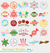 Vector Set: Vintage Mixed Candy Labels and Stickers — Vettoriale Stock